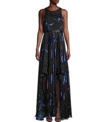 halston women's blossom burnout flare gown - ultra black - size 0