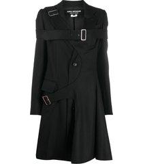 junya watanabe buckled strap mid-length coat - black