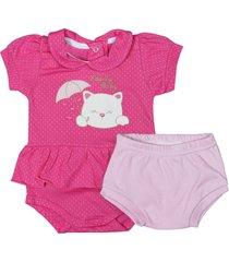 conjunto de bebê curto tapa fralda rosa e body pink pink