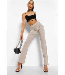 stretch broek met rechte pijpen en split, taupe