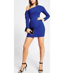 river island womens bright blue one shoulder bodycon mini dress