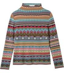 jacquard trui van biologisch katoen, petrol-motief 36/38