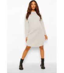 zwangerschaps trui jurk met crewneck, light grey