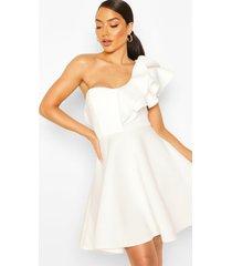 double ruffle one shoulder skater dress, white