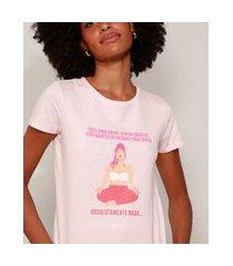 camiseta feminina meditação manga curta decote redondo rosa claro