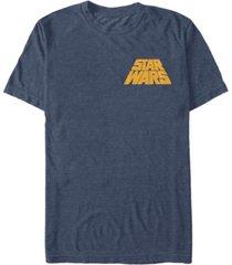 fifth sun star wars men's distressed tilted yellow logo short sleeve t-shirt