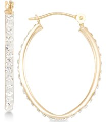 crystal pave tapered hoop earring in 10k gold