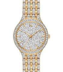 bulova women's phantom gold-tone crystal-accent stainless steel bracelet watch 32mm