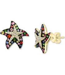 effy multi-sapphire (7/8 ct. t.w.) & diamond (1/6 ct. t.w.) starfish stud earrings in 14k gold