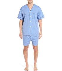 men's majestic international cotton short pajamas, size medium - blue