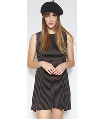 birch sleeveless dress - l black stripe