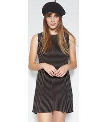 birch sleeveless dress - l black stripe