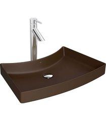 cuba de sobrepor com mesa posterior marrom fosco 39x60,5cm l127 - deca - deca