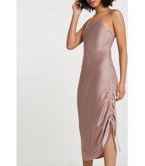 river island womens pink square neck ruched midi slip dress