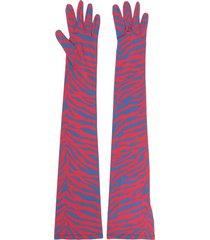 mm6 maison margiela zebra-pattern longline gloves - red