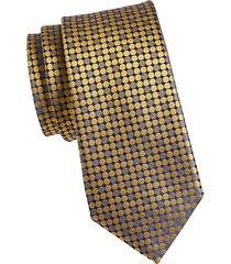 two-tone dot-print silk tie
