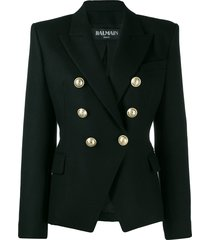balmain double-breasted structured shoulder blazer - black
