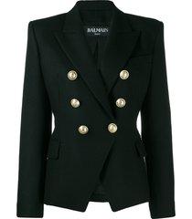 balmain double-breasted structured shoulder blazer - black