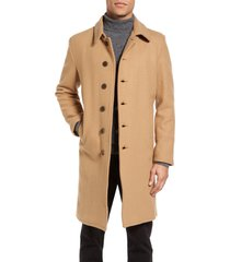 men's schott nyc wool blend officer's coat, size medium - brown