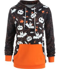 halloween plus size kangaroo pocket hoodie
