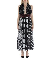 dolce & gabbana long patchwork crepe de chine and charmeuse dress