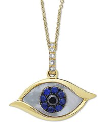 """effy mother-of-pearl, sapphire (1/10 ct. t.w.) & diamond accent evil-eye 18"""" pendant necklace in 14k gold"""