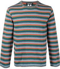comme des garçons homme deux striped wool sweatshirt - orange
