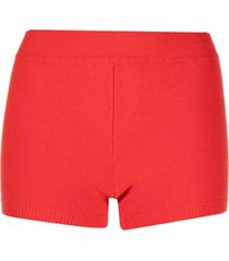 ami amalia ribbed-knit merino wool shorts - red