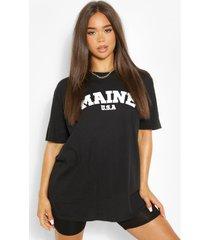 oversized maine slogan boyfriend t-shirt, black
