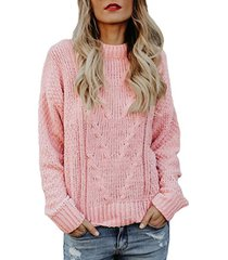 maglione girocollo casual tinta unita per donna