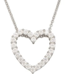 swarovski zirconia heart pendant necklace in sterling silver