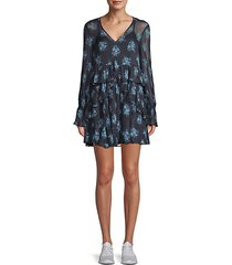 farris silk floral mini dress