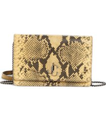 jimmy choo palace croc embossed leather clutch - yellow