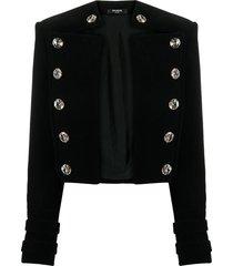 balmain velvet crystal-embellished spencer jacket - black
