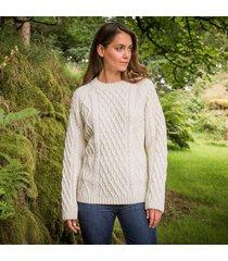 ladies' sherkin aran sweater cream m