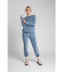 sweater lalupa la011 fluwelen reglan mouw pullover top - blauw