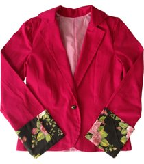 casaco liminha doce floral rosa