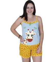 short doll girafa algodão concept lingerie multicolorido