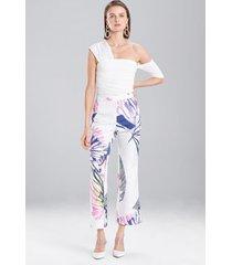 botanical palms jacquard pants, women's, white, size 8, josie natori