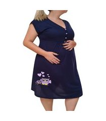 camisola plus size linda gestante manga curta pós parto mamãe coruja