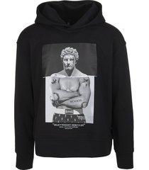 neil barrett man black heavyweight hercules series hybrid hoodie