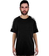 camiseta manga curta raglan skate eterno shoulder preta - kanui