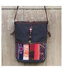 leather accent cotton shoulder bag, 'dokmai black' (thailand)
