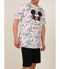 pyjama's / nachthemden admas for men homewear pyjamabroek t-shirt mickey jungle disney admas