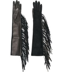 manokhi fringed long gloves - black