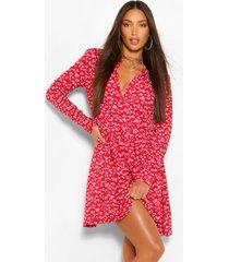 tall bloemenprint skater blouse jurk, rood