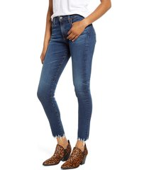 women's ag the farrah high waist ankle skinny jeans, size 24 - blue