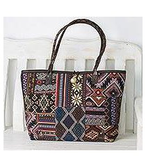 leather accented cotton blend shoulder bag, 'geometric patchwork' (thailand)