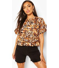 tiger print round neck frill hem top, brown