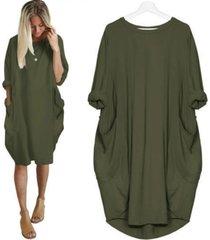 s-5xl verano vestido suelto midi de bolsillo mujeres diseño básico-verde